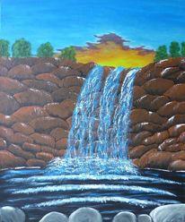 Wasserfall, Landschaft, Acrylmalerei, Malerei