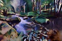 Wasserlauf, Wald, Labyrinth, Herbst