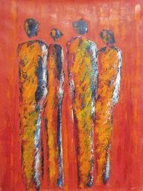 Modern, Rot, Acrylmalerei, Menschen dieser welt
