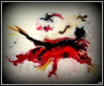 Fledermaus, Tiere, Rot schwarz, Malerei