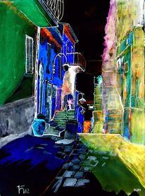 Nacht, Café, Blau, Malerei