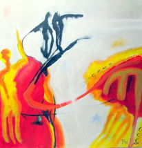 Brandung, Skateboard, Rot, Malerei