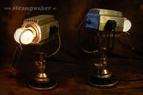Steampunk, Lampe, Messing, Uhrwerk