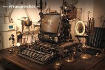 Arbeitsplatz, Bildschirm, Steampunk, Rechner
