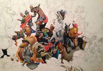 Ölmalerei, Mauer, Schattenspiel, Schlacht