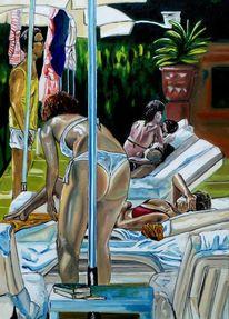 Urlaub, Badeanzug, Frau, Ölmalerei