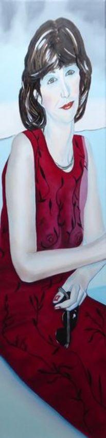 Kleid, Blassen, Rot, Schmal