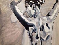 Frau, Schwarz weiß, Portrait, Rücken