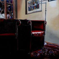 Lampe, Ölmalerei, Sessel, Teppich