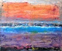 Sonnenuntergang, Abstrakt, Blau, Violett
