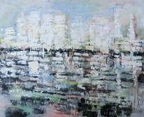 Spiegelung, Abstrakte landschaft, Malerei, Nicht gegenständlich