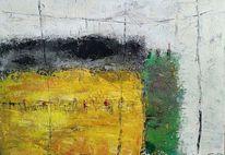 Moderne malerei, Grün, Abstrakte landschaft, Architektur