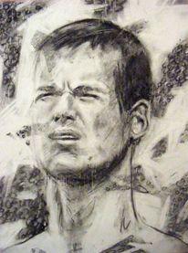 Menschen, Kohlezeichnung, Ausdruck, Zeichnung