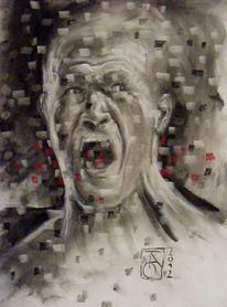 Ausdruck, Mann, Emotion, Kohlezeichnung