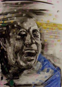 Pastellmalerei, Ausdruck, Mann, Emotion