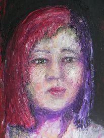 Gesicht, Mädchen, Rot, Malerei