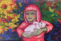 Mutter, Baby, Kräftig, Miteinander