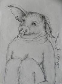 Frauenkörper, Schweinekopf, Grinsen, Zeichnungen
