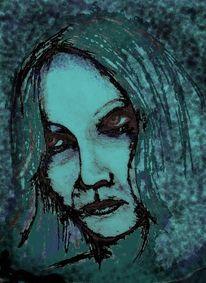 Digital, Gedanken, Bleistiftzeichnung, Dunkel