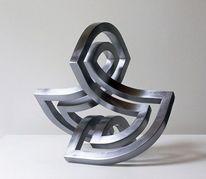 Beziehung, Stahlskulptur, Entfaltung, Objektive skulptur