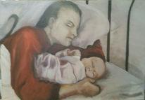 Baby, Bett, Sohn, Malerei