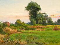 Landschaft feld bäume, Malerei