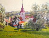 Kirche, Park, Frühling, Baum