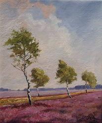 Heide birken herbst, Malerei, Heide