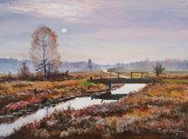 Fluss, Herbst, Feld, Landschaft