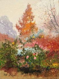 Baum, Rose, Herbst, Nebel