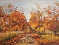 Herbst blätter bäume, Malerei, Herbstfarben