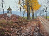 Landweg kapelle bäume, Malerei
