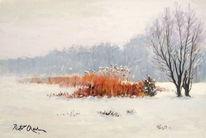 Schnee winter schilf, Malerei, Schnee