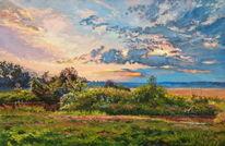 Sommer landschaft, Natur, Sonnenuntergang, Malerei