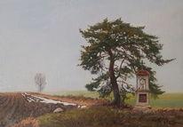 Frühling, Feld, Baum, Kapelle