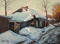 Straße, Winter, Haus, Morgen