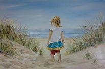 Strand, Mädchen, Sonne, Ferien