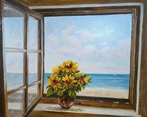 Meerblick, Sommer, Sonnenblumen, Strand