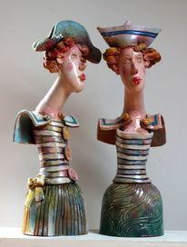 Skulptur, Ceramic artistic, Frau, Kunsthandwerk
