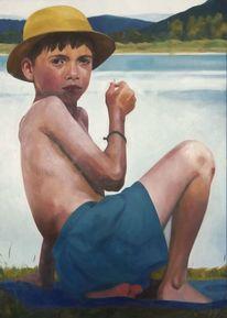 Junge, Kind, See, Malerei