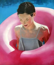 Schwimmreifen, Realismus, Mädchen, Malerei
