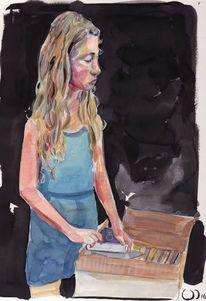 Bücher, Kind, Mädchen, Malerei