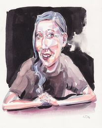Frau, Emotion, Portrait, Aquarell