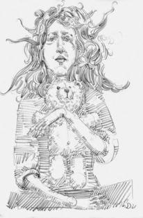 Bär, Mädchen, Haare, Zeichnungen