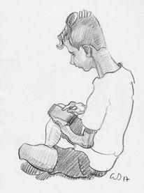 Kind, Spielen, Handy, Zeichnungen