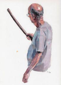 Mann, Glatze, Stock, Zeichnungen