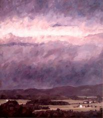 Berge, Abend, Landschaft, Wolken