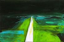 Landschaft, Grün, Nacht, Schwarz weiß