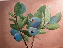 Strauch, Blätter, Blaubeeren, Malerei
