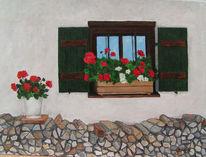Holzstapel, Geranie, Fenster, Fensterladen
